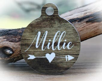 Faux Wood dog tag for dogs, Pet ID tag dog, Dog Tag for Dogs, Faux wood name tag, Rustic dog name tag, Dog Name tag-Millie