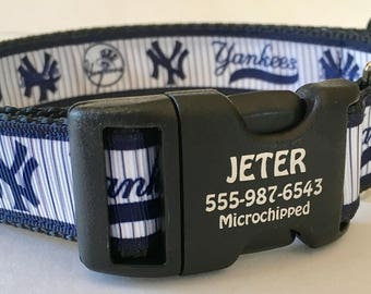 "New York Yankees MBL Fan Dog Collar Customizable Pet Identification Made in USA  1"" wide Large Medium Small"
