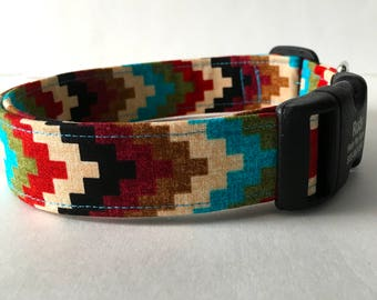 Personalized Dog Collar Aztec Design Southwest Style Collar Pet Identification Geometric Pattern Native American Fabric