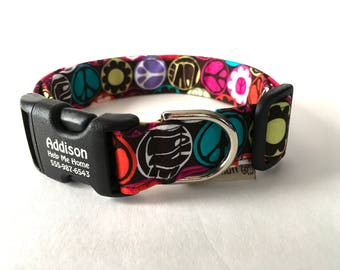 Peace Sign Colorful Pet Collar Personalized Buckle Pet Identification Hippie Flower Power Hearts Flowers Multi Colorful Love