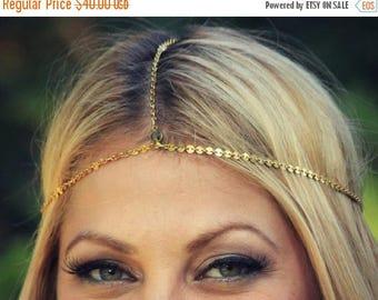 SUMMER SALE CHAIN Headpiece- head chain headdress with black swarvoski embelishment