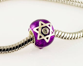 Star of David & Chai Sterling Silver Judaica Jewelry Large Hole Bead for European Bracelet  in Purple Bat Mitzvah Jewish Gift For Her