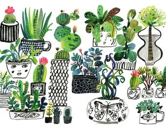 Succulents in Black Pots Archival Print