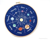 Kit de broderie de planètes, système solaire panneau de broderie à la main déjà imprimé pour broderie à la main, broderie motif de conception de l'espace