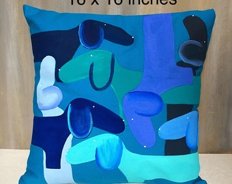 Dachshund Hand Painted Pillow Cover Blues/ Pillows / Throw Pillow/Pillow Cover/