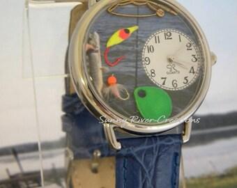 "Fish Watch with fishing ""stuff"" and fishing pole charm"