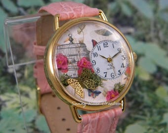 Watch with Bird Cage Butterfly and Pink Flowers
