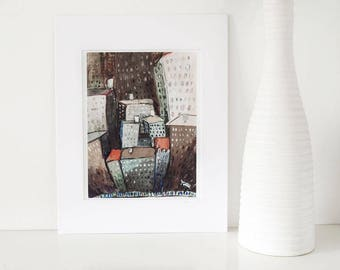 New York. New York-print of New York City art,collage,mixed media illustration,urban,modern picture,cityscape, original, ready to hang,