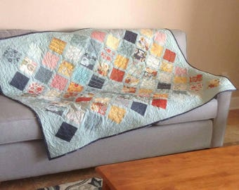"""Large quilt throw blanket """"PB & J"""" fabric by Basic Grey. Southwestern styles dusty teal, lattice quilt Quiltsy Handmade"""