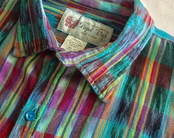 Vintage Popol Vuh Hand Woven Colorful Shirt Made in Guatemala Central America