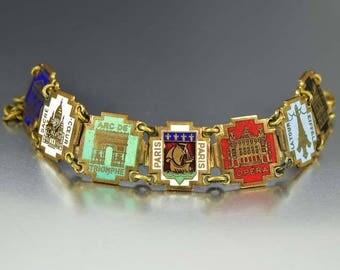 Paris Decor Bracelet | Eiffel Tower | French Souvenir Bracelet | Art Deco Bracelet | Enamel Jewelry | Art Deco Jewelry | French Vintage