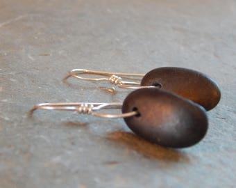basalt beach stone lasso earrings