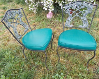 APPLES Novelty Design Back Two Vintage 60s Wrought Iron Chairs For Antique Garden Sitting Patio Furniture Lovely  RARE & Excellent Quality