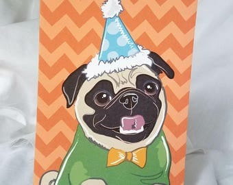 Party Pug Greeting Card