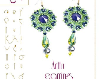 Beading tutorial / pattern Arttu earring. Beading instruction in PDF – for personal use only