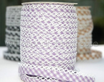 FINAL CLEARANCE SALE Bias Tape -  Lilac Gingham Cotton and Lace Double Fold