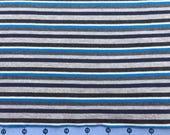 Blue, Black, Gray Stripe Knit Fabric - Clearance