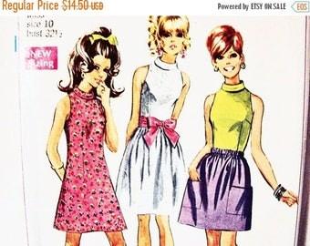 SALE 25% Off 1960s Mini Dress Pattern size 10 Simplicity Pattern Womens Sleeveless Dress Blouse and Mini Skirt Pattern Vintage Sewing Patter
