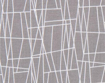 215805 grey Michael Miller fabric white line assorted shape Atomic Web