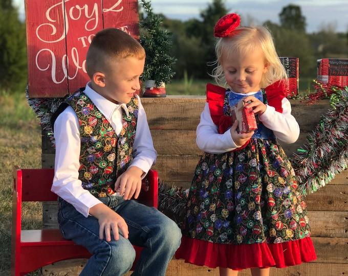 Christmas Outfit - Toddler Christmas Dress - Red Dress - Baby Christmas Dress - Girls Holiday Dress - My 1st Christmas - 6 mo to 8 yrs