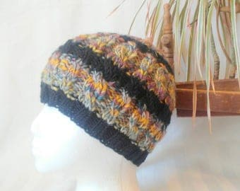 Black Striped Winter Hat. Cable Beanie. Handspun Wool Stripes of Gray Green Yellow and Mauve. Black Stripes of Wool Mohair.Beanies for Women