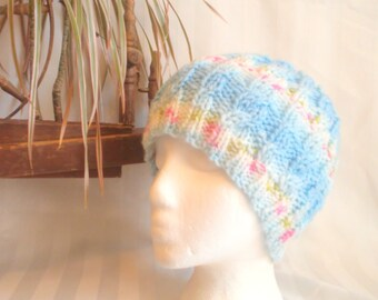 Cable Beanie. Ready to Ship. Knit Hat. Light Blue. Light Medium Blue Stripes. Beanies for Women. Womens Hats. Gifts for Women. Acrylic Nylon