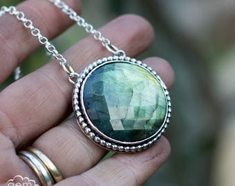 Labradorite and Sterling silver Celtic knot long bohemian necklace - Celtic Dreams Collection