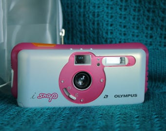 Olympus isnap APS camera working white and pink