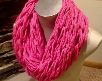 Arm Knit Infinity Scarf- Pink