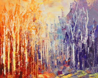 Landscape painting palette knife original forest art birch aspen trees woodland small - WIZARD'S WOODS - by Tatiana Iliina - free shipping