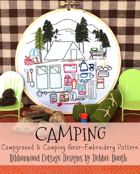 Camping, Campground and Camping Gear Embroidery Pattern Hoop Art