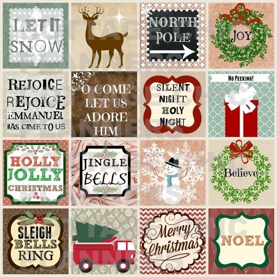 Woodland Christmas  Printable Squares Christmas Art Journal Cards