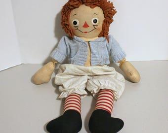 Gruelle Raggedy Ann Doll, Vintage 1940s Soft Cloth Doll