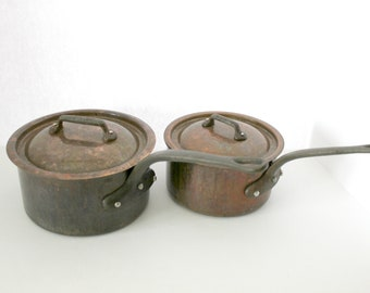 Copper Saucepans with Lids, Vintage French Cookware Sauce Pans, Made in France with Cast Iron Handles