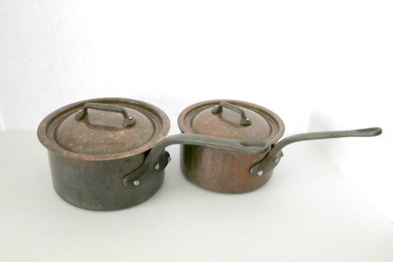Vintage Copper Saucepans with Lids, French Cookware Sauce Pans, Made in France with Cast Iron Handles