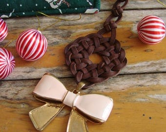 Celtic Knot Christmas Decoration with Pink and Gold Bow Pendant -- Tree Ornament, Spanish leather, Festive Home Decor, Seasonal bling, OOAK