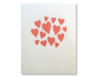 Letterpress Hearts Cards, Cluster of Hearts, Heart Bubbles, Charming and Bright