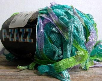 plymouth p-zazz yarn . hummingbird 6170 . 61yd bulky funky italian ribbon flag yarn . turquoise lavender apple green . discount sale yarn