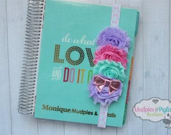 Planner band { Pastel Hexagon } unicorn, rainbow, shabby flower, watercolor, mint pink lavender, spring, bow, baby headband