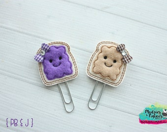 Paper Clip or Hair Clippies { Peanut Butter Jelly } Set of 2 Clips, Baby Hair Bow, best friends First Birthday, Barette, Hair Bow No Slip