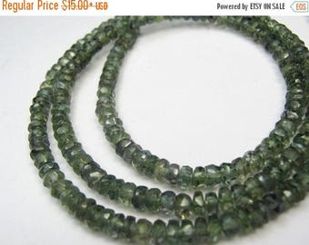 "ON  SALE Sapphire Gemstone. Precious Gemstone Bead. Faceted Sapphire Rondelle. Dark Green Sapphire, 3"" Strand Your Choice  (5sapg) Last Ones"