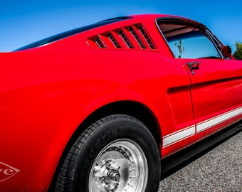 1965 Red Ford Fastback Mustang Car Photography, Automotive, Auto Dealer, Muscle, Sports Car, Mechanic, Boys Room, Garage, Dealership Art