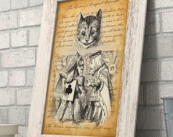 Alice in Wonderland - The Queen of Hearts and Cheshire Cat - 11x14 Unframed Alice in Wonderland Print