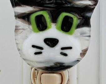 Glassworks Northwest - Grey Tabby Cat Night Light - Fused Glass Art