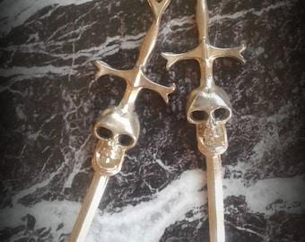 Skull and Sword Earrings - Skulls and Sword Sterling Silver Earrings - Skull and Sword Jewelry - Pirate Skull Sterling Silver Studs -