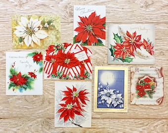8 Vintage Poinsettia Christmas Cards, Midcentury Poinsettia Cards, 1940s-1960s Christmas Poinsettia Set #2