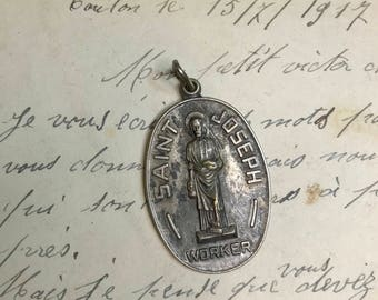 Vintage St. Joseph Worker Medal- Religious Charm- Catholic Holy Charm- Provide for Family- Family Man