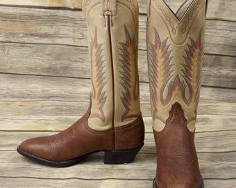 Womens Size 6 M Cowboy Boots Tony Lama Cowgirl Tan Red Blue Western Boho Ladies