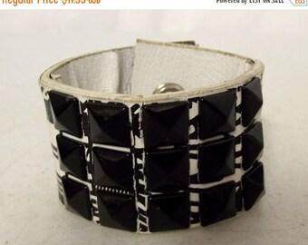 Steampunk Cuff Bracelet Black White Studded Punk Rock Rockabilly Jewelry Reclaimed