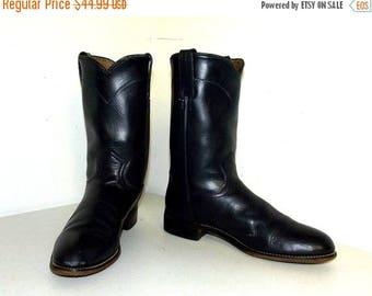Dark Blue Justin brand  Roper style cowboy boots size 7.5 A  -- narrow width